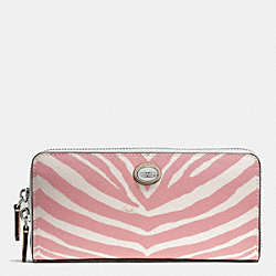 COACH F52530 Peyton Zebra Print Accordion Zip Wallet SILVER/PINK TULLE