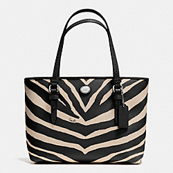COACH F52532 - PEYTON ZEBRA PRINT TOP HANDLE TOTE SILVER/BLACK