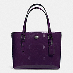 COACH F52534 Peyton Linear C Embossed Patent Top Handle Tote GUNMETAL/PLUM