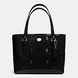 COACH F52534 - PEYTON LINEAR C EMBOSSED PATENT TOP HANDLE TOTE  SILVER/BLACK