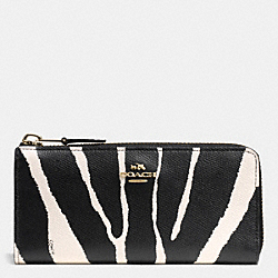 COACH F52542 Slim Zip Wallet In Zebra Print Leather  LIGHT GOLD/BLACK WHITE
