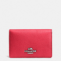 COACH F52544 Business Card Case SV/TRUE RED