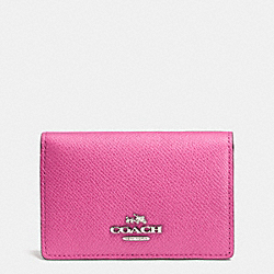 COACH F52544 Business Card Case In Embossed Textured Leather SILVER/FUCHSIA