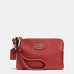COACH F52553 L-zip Small Wristlet In Leather LIGHT GOLD/RED CURRANT