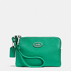 COACH F52553 L-zip Small Wristlet In Leather SILVER/JADE