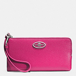 COACH F52555 L-zip Wallet In Leather  SILVER/FUCHSIA