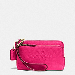 COACH F52556 Double Corner Zip Wristlet In Pebble Leather LIGHT GOLD/PINK RUBY
