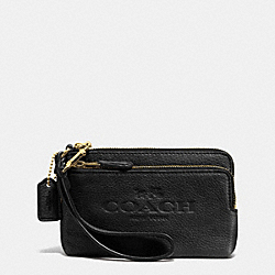 COACH F52556 Pebble Leather Double Corner Zip Wristlet LIGHT GOLD/BLACK