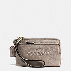 COACH F52556 Double Corner Zip Wristlet In Pebble Leather LIGHT GOLD/METALLIC