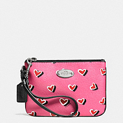 COACH F52560 Small Wristlet In Heart Print Canvas  SILVER/PINK MULTICOLOR