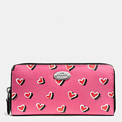 COACH F52563 Accordion Zip Wallet In Heart Print Canvas  SILVER/PINK MULTICOLOR