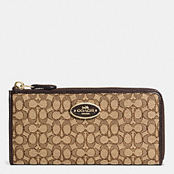COACH F52570 Slim Zip Wallet In Signature LIGHT GOLD/KHAKI/BROWN