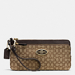 COACH F52571 Double Zip Wallet In Signature  LIGHT GOLD/KHAKI/BROWN