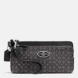 COACH F52571 Double Zip Wallet In Signature  SILVER/BLACK SMOKE/BLACK