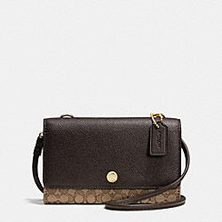 COACH F52573 - PHONE CROSSBODY IN SIGNATURE LIGHT GOLD/KHAKI/BROWN