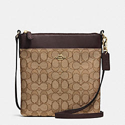 NORTH/SOUTH SWINGPACK IN SIGNATURE - f52576 - LIGHT GOLD/KHAKI/BROWN