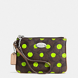COACH F52581 Small Wristlet In Dot Print Signature Canvas SILVER/BROWN/NEON YELLOW