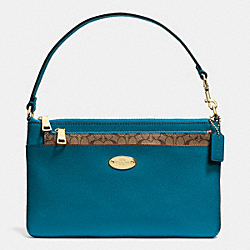 LEATHER POP POUCH - LIGHT GOLD/TEAL - COACH F52598