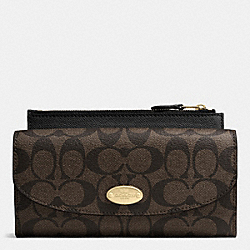COACH F52601 Signature Canvas Pop Slim Envelope Wallet LIGHT GOLD/BROWN/BLACK