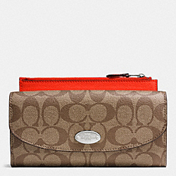 COACH F52601 Pop Slim Envelope Wallet In Signature SILVER/KHAKI/ORANGE