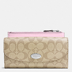 COACH F52601 Pop Slim Envelope Wallet In Signature SILVER/LIGHT KHAKI/PETAL