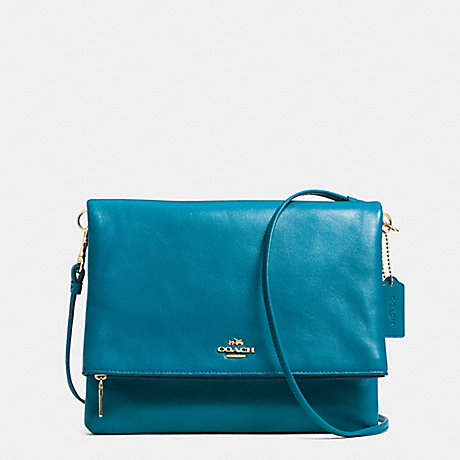 FOLDOVER CROSSBODY IN LEATHER - COACH F52606 - LIGHT GOLD/TEAL