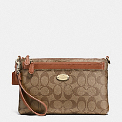 COACH F52619 Pop Pouch In Signature LIGHT GOLD/KHAKI/SADDLE