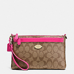 COACH F52619 Pop Pouch In Signature Canvas  LIGHT GOLD/KHAKI/PINK RUBY