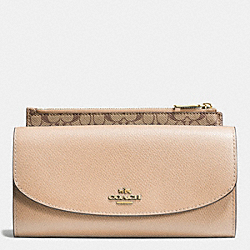 COACH F52628 Pop Slim Envelope In Crossgrain Leather LIGHT GOLD/NUDE