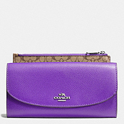 COACH F52628 Pop Slim Envelope In Crossgrain Leather SILVER/PURPLE IRIS