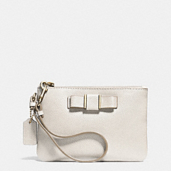 COACH F52629 Small Wristlet With Bow In Crossgrain Leather LIGHT GOLD/CHALK