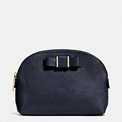 COACH F52630 Small Cosmetic Case With Bow In Crossgrain Leather  LIGHT GOLD/MIDNIGHT