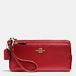 COACH F52636 Double L-zip Wallet In Leather LIGHT GOLD/RED CURRANT