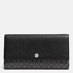 COACH F52637 Checkbook Wallet In Signature  SILVER/BLACK SMOKE/BLACK