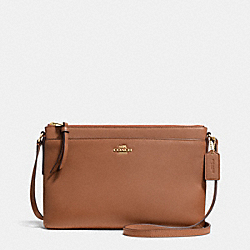 COACH F52638 East/west Swingpack In Leather  LIGHT GOLD/SADDLE