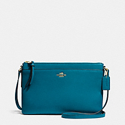 EAST/WEST SWINGPACK IN LEATHER - f52638 -  LIGHT GOLD/TEAL