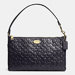 COACH F52643 Signature Embossed Pebble Leather Large Wristlet LIGHT GOLD/MIDNIGHT