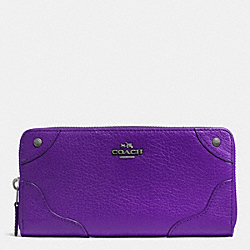 COACH F52645 Mickie Accordion Zip Wallet In Grain Leather ANTIQUE NICKEL/PURPLE IRIS
