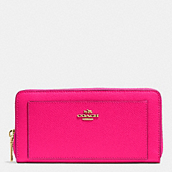 COACH F52648 Accordion Zip Wallet In Leather IMITATION GOLD/PINK RUBY