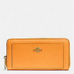 COACH F52648 Accordion Zip Wallet In Leather IMITATION GOLD/ORANGE PEEL