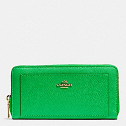 COACH F52648 Accordion Zip Wallet In Leather IMITATION GOLD/KELLY GREEN