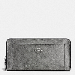 COACH F52648 Accordion Zip Wallet In Leather SILVER/GUNMETAL