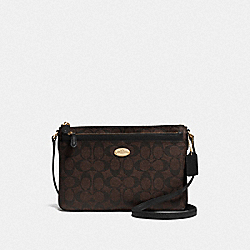 COACH F52657 - EAST/WEST POP CROSSBODY IN SIGNATURE CANVAS LIGHT GOLD/BROWN/BLACK