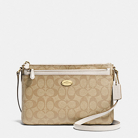 Coach F52657 East West Pop Crossbody In Signature Light Gold Khaki Chalk