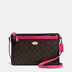 COACH F52657 - EAST/WEST POP CROSSBODY IN SIGNATURE CANVAS IMITATION GOLD/BROWN/PINK RUBY