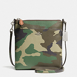 NORTH/SOUTH SWINGPACK IN CAMO PRINT LEATHER - f52662 -  SILVER/GREEN MULTI