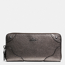 COACH F52667 Mickie Accordion Zip Wallet In Pearlized Caviar Leather ANTIQUE NICKEL/GUNMETAL