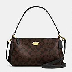 COACH F52678 - SIGNATURE COATED CANVAS TOP HANDLE POUCH LIGHT GOLD/BROWN/BLACK