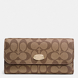 COACH F52681 Signature Coated Canvas Checkbook Wallet LIGHT GOLD/KHAKI/SADDLE