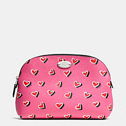 COACH F52685 Cosmetic Case In Heart Print Coated Canvas  SILVER/PINK MULTICOLOR